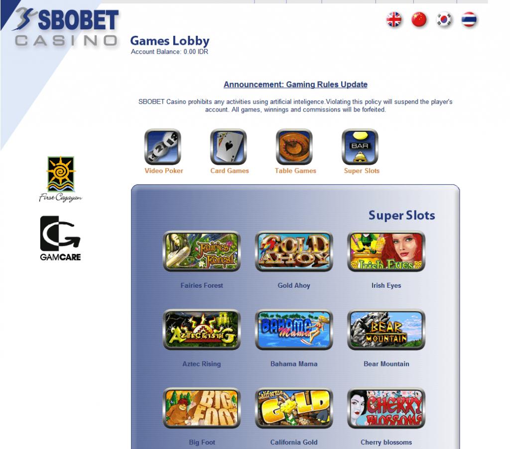 game casino sbobet